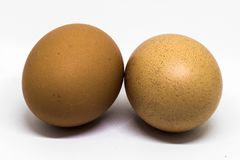 Two fresh chicken eggs with brown shell. The two pictures lying next to the fresh chicken eggs brown shell on white background Stock Image