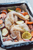 Two fresh chicken wings ready for cooking. Top view Stock Photos