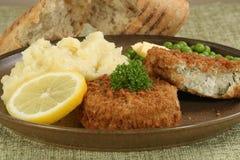 Two fresh cod fishcakes Stock Images
