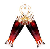 Two fresh coke splash in glass making a toast Royalty Free Stock Image