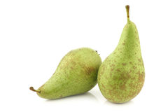 Two fresh conference pears Stock Photos
