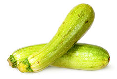 Two fresh courgette crisscross. Isolated on white background stock photo