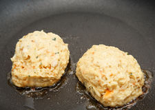 Fresh Crab Cakes in Saute Pan Royalty Free Stock Photos