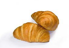 Two fresh croissant Stock Image