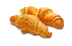 Two fresh croissant, casting soft shadow on white. Two fresh croissant on white Stock Image