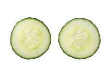 Two fresh cut cucumber slices isolated on white background, clos Royalty Free Stock Photos