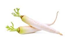 Two fresh daikon radish isolated on the white. Background Stock Photo