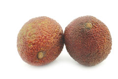 Two fresh eat ripe avocado`s stock images