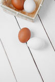 Two fresh Egg, Chicken Egg. Fresh raw group of eggs put on old  table Royalty Free Stock Photos