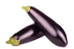 Two fresh eggplant  isolated on white. Background Royalty Free Stock Photos