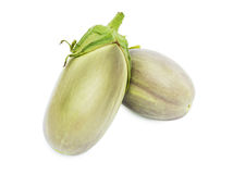 Two fresh eggplants. Isolated on a white background Stock Images