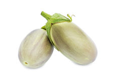 Two fresh eggplants. Isolated on a white background Stock Photography