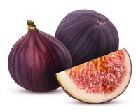 Two fresh figs fruit and slice. Isolated on white background. Clipping Path. Full depth of field Royalty Free Stock Photography