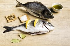 Two fresh fish Dorada with bay leaves, some pieces of lemon, a bowl of oil and some spices on a wooden table. Prepared for cooking stock photography