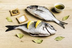 Two fresh fish Dorada with bay leaves, some pieces of lemon, a bowl of oil and some spices on a wooden table. Prepared for cooking stock photos