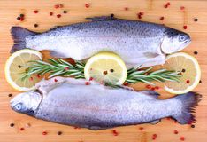 Two fresh full trout with species on bamboo board Royalty Free Stock Photos