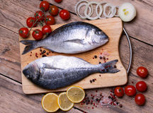 Two fresh gilt-head bream fish on cutting board with lemon, onion and tomato. Horizontal Royalty Free Stock Images