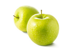 Two fresh green apple isolated on white background. Stock Photos