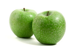 Two fresh green apples Stock Photo