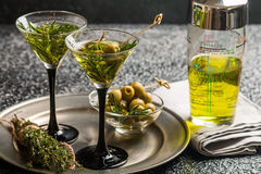 Two fresh green cocktails Stock Photography