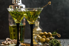 Two fresh green cocktails Royalty Free Stock Photography