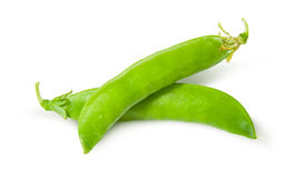 Two of fresh green peas sugar in the pods Royalty Free Stock Images