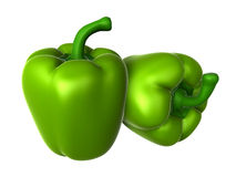 Two Fresh Green sweet pepper. Foods and Dishes Series. Royalty Free Stock Photo