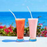 Two fresh juices or smoothies on a tropical resort Stock Photo