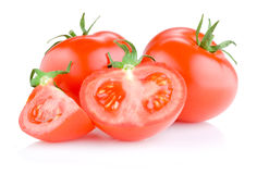 Two Fresh Juicy tomato cut in half  Stock Photo