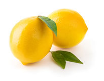 Two fresh lemons with leaves Stock Image