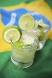 Two Fresh Lime Caipirinhas Brazilian Flag Stock Image