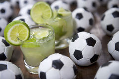 Two Fresh Lime Caipirinhas Brazilian Soccer Stock Image