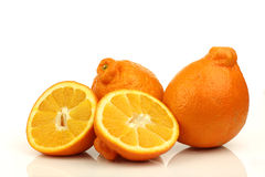 Two fresh minneola's and a cut one Royalty Free Stock Photo