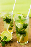 Two fresh mojitos cocktail. Mojitos with mint leaves, lime and ice Stock Image