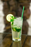 Two fresh mojitos cocktail on wooden background. Mojitos with mint leaves, lime and ice. Stock Image