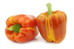 Two fresh orange and yellow `enjoya` bell peppers capsicum. On a white background stock images