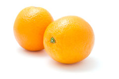 Two fresh oranges Stock Photos