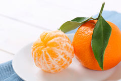 Two fresh oranges Stock Photo