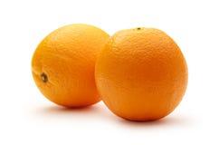 Two fresh oranges on white background Royalty Free Stock Images