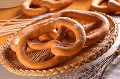 Two fresh pretzels Stock Images