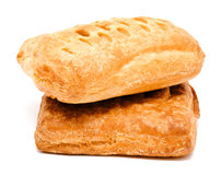 Two fresh puff pastry isolated on a white Stock Photos
