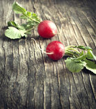 Two fresh radish on wooden background. Toned image Stock Images