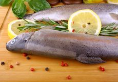 Two fresh rainbow trout with lemon and rosemary. Two fresh rainbow trout, lemon on bamboo board, close up Stock Photography