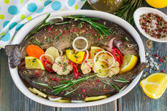 Two fresh rainbow trout with lemon, rosemary and spices Stock Photos