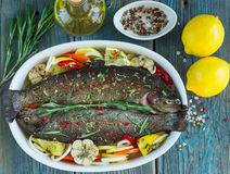 Two fresh rainbow trout with lemon, rosemary and spices. On a wooden table Royalty Free Stock Images