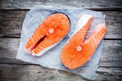 Two fresh raw salmon steak on a paper Royalty Free Stock Photography