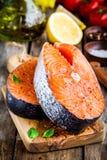 Two fresh raw salmon steaks closeup Stock Photo