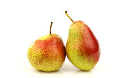 Two fresh red and yellow pears Stock Images