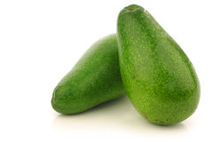 Two fresh and ripe avocado's Stock Image