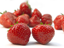 Two fresh ripe red strawberries Royalty Free Stock Photography